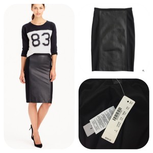 J.Crew Leather New Pencil Nwt Skirt Black