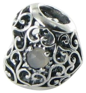 PANDORA 791784MSG Charm Bead June Signature Heart Grey Moonstone Sterling