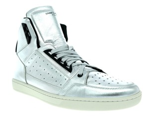 Saint Laurent High Top Leather Ysl Silver Athletic