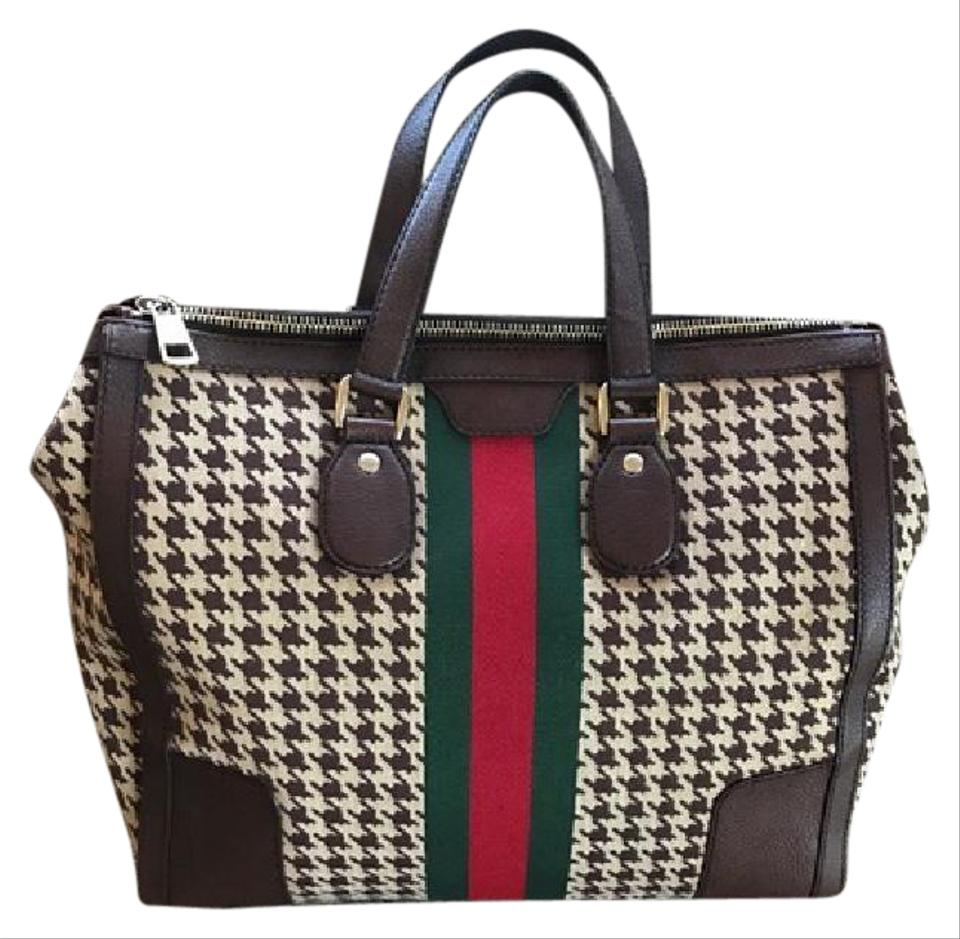 8ce62a336d8 Gucci Seventies Houndstooth Fabric   Leather Tote - Tradesy