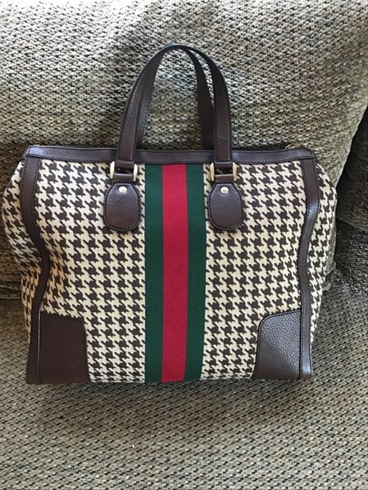 59fb3344211 Gucci Seventies Houndstooth Fabric   Leather Tote - Tradesy