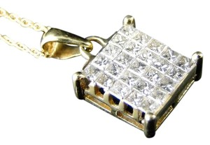 Other 14K Yellow Gold Genuine Real Diamond Princess Cut Pendant and Chain