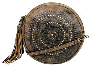 Patricia Nash Designs Leather Antique Brass Studs Adjustable Strap Cross Body Bag