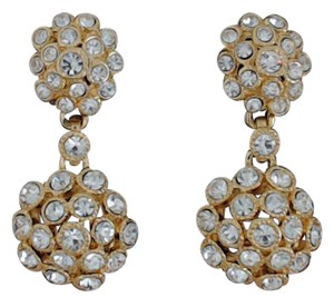 Other White Crystal Set in Gold-Plate Drop Comfortable Clip-On