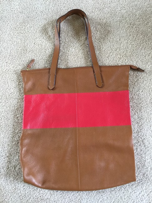 Item - Tan and Red/ Fuchsia Leather Tote
