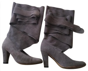 Jeffrey Campbell Libby Wrap Slouchy Suede Leather Gray Boots