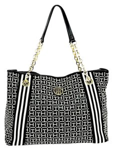 Tommy Hilfiger Jacquard Chain Strap Gold Hardware Zippered Pocket Tote in Black and White