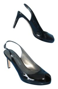 Stuart Weitzman Peep Toe Slingback Patent Leather Platform Black Pumps