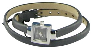 PANDORA Petit Square Watch 811027BK Gray Dial, Gray Leather Strap