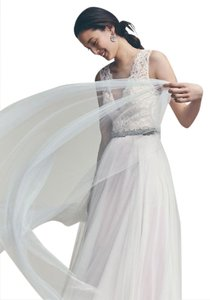BHLDN Ivory/Blush Lace Mesh Satin Taryn Feminine Wedding Dress Size 4 (S)