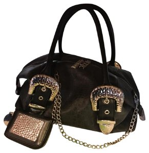 Charm and Luck Satchel in black/silver