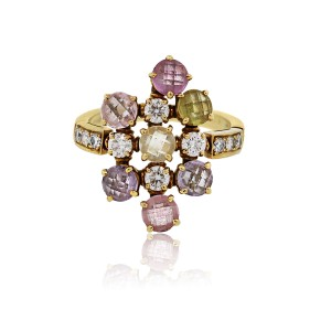 BVLGARI Bvlgari 18k Yellow Gold Sapphire and Diamond Cluster Ring