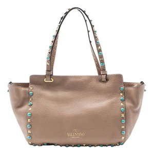 Valentino Women's Leather Cabochons Tote in Nude
