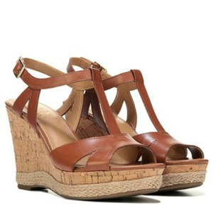 Franco Sarto Leather Open Toe Sandals Brown Wedges