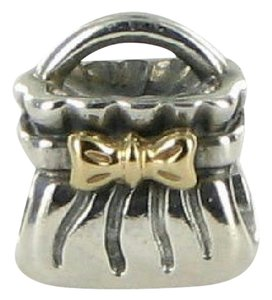 PANDORA 790474 Bead Charm Bow Purse 14k Yellow Gold Sterling Silver Retired