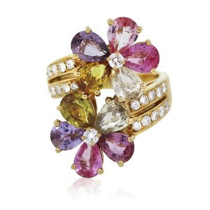 BVLGARI Bvlgari Contraire Sapphire Diamond Flower Cocktail Ring