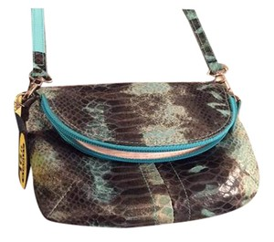 Lodis Textured Leather Animal Print Reptile Cross Body Bag