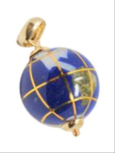 Other Vintage 18K Gold Lapis and Gemstone World Globe Charm