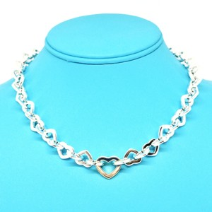 Tiffany & Co. Tiffany & Co. Sterling Silver & 18K Yellow Gold Heart Link Necklace