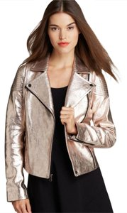 Marc Jacobs Marc Leather Metalic Rose Gold Leather Jacket