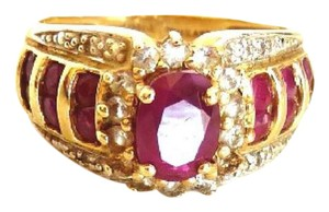 Other Genuine Ruby & Diamond Women's Ring 14k Yellow Gold Size 5