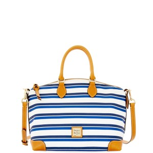 Dooney & Bourke & Leather Canvas Satchel in WHITE / NAVY
