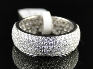 Other 14K White Gold Round Diamond Pave Eternity Wedding Band Ring 2.23 Ct