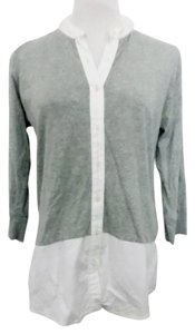 Gap Lagenlook Band Collar Layered Look Color Block Button Down Shirt Gray, White