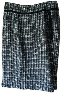 Preswick & Moore Tweed Kick Pleat Fully Lined Acrylic Ribbon Accent Skirt Taupe Black White