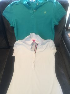 Lilly Pulitzer Short Sleeve Classic Polo Set Of 2 Top Turquoise and White