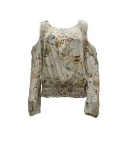 Flowers Of Romance Muted Colors Feminine Smocked Waist Top Multi