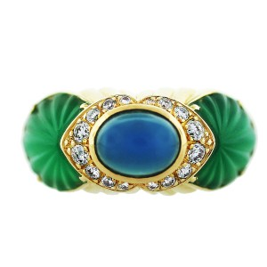 Cartier Cartier 18k Yellow Gold Chalcedony Chrysoprase and Diamond Ring