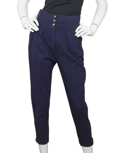 ALAA Alaia High Rise Pleated Cropped Capri/Cropped Pants Navy
