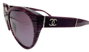 Chanel Chanel Oval Cat Eye Purple Glitter Lines Sunglasses 5259 c.1440/S1