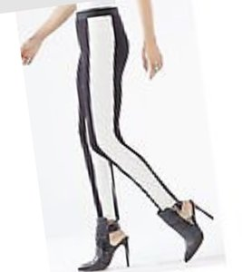 BCBGMAXAZRIA Phenominal Party Edgy Black and White Contrast Leggings