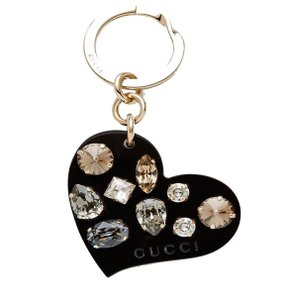Gucci Black Plexiglass Heart Key Ring Charm with Swarovski Crystals 354361