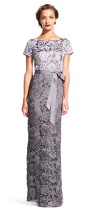 Adrianna Papell Lace Color-blocking Column Gown Dress