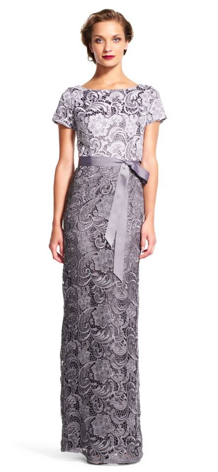 Adrianna Papell Silver Gunmetal Colorblock Lace Column Gown with ...