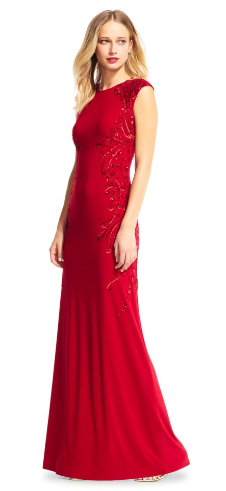 Adrianna Papell Red Sleeveless with Sequin Embroidered Trim Long ...