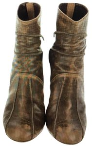 Dior Distressed Leather Phenomenal Stiletto Distressed Brown Boots