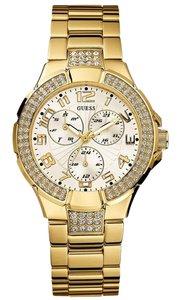 Guess L16540L1 Women's Gold Metal Bracelet With White Analog Dial Watch