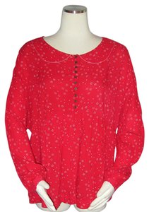 Free People Rayon Oversize Size M Top Red