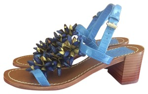 Tory Burch Beaded Embellished Patent Summer Blue Sandals