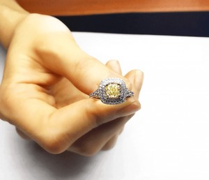 Timeless This 1.32 Ctw Fancy Light Yellow Diamond Ring .