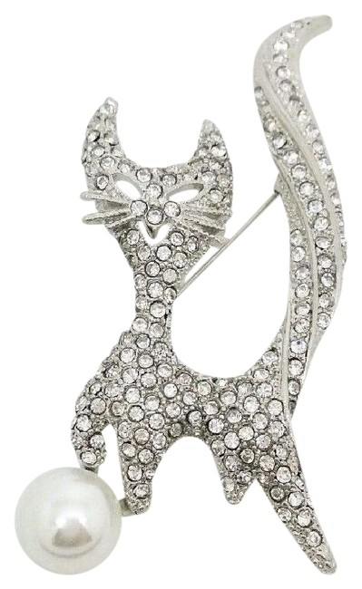 Item - Silver Smiling Cool Cat 125 Czech Crystals Faux White Pearl Brooch