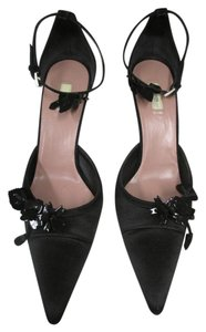 Prada Ankle Strap Size 10 Pointed Toe Black Satin with Suede Pumps