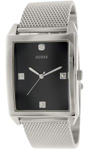 Guess U0279G1 Men's Silver Metal Bracelet With Black Analog Dial Watch