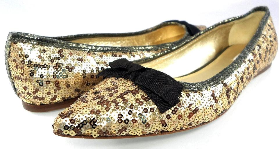 d3fd1f76499 Miu Miu Gold Brown By Prada Glitter Point Toe Slip On Bow Ballet Flats