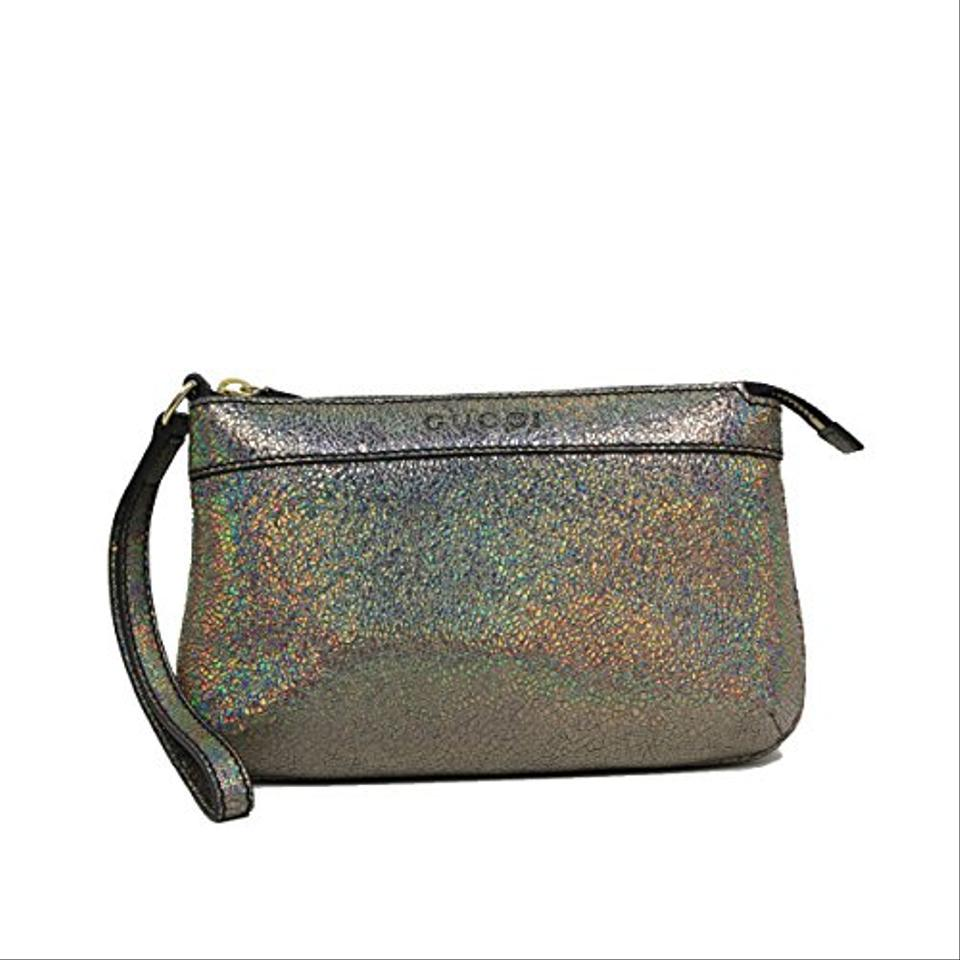 Gucci Leather Metallic Textured Leather Wristlet 274 Silver Clutch ...