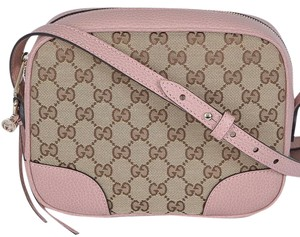 Gucci 449413 Pink Leather Canvas Gg Cross Body Bag